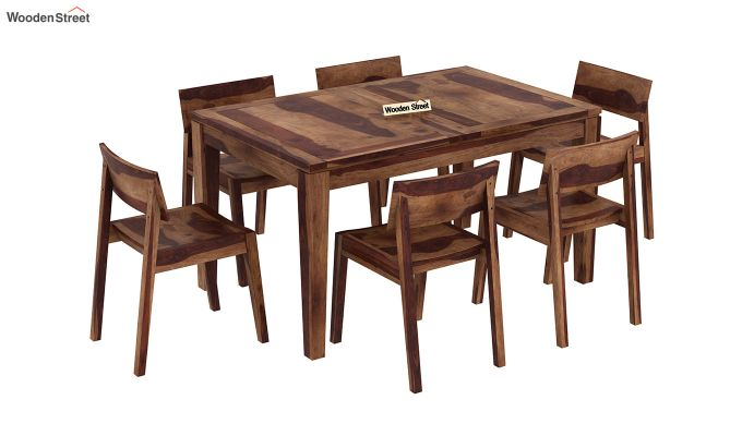 Tancy 6 Seater Extendable Dining Set (Teak Finish)-4