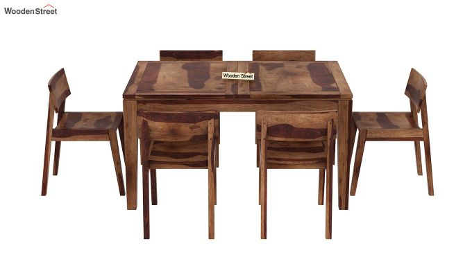 Tancy 6 Seater Extendable Dining Set (Teak Finish)-5