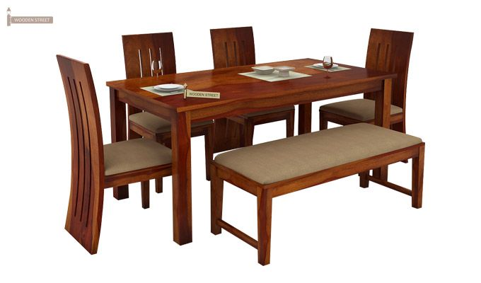 Terex 6 Seater Dining Set With Bench (Honey Finish)-2