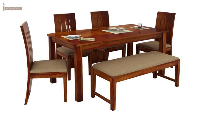Terex 6 Seater Dining Set With Bench (Honey Finish)-3