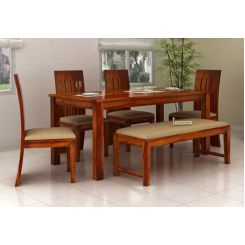 Terex 6 Seater Dining Set With Bench (Honey Finish)