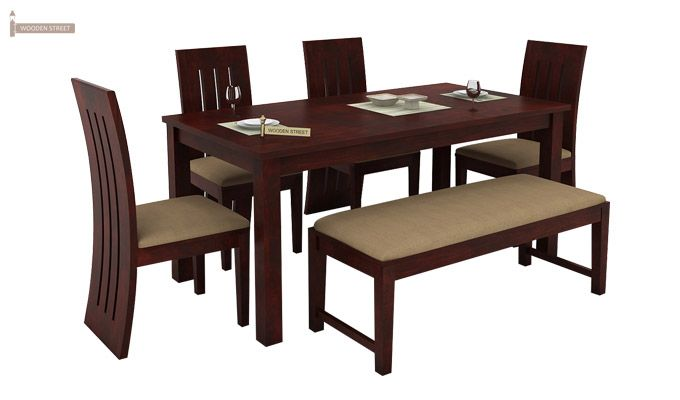 Terex 6 Seater Dining Set With Bench (Mahogany Finish)-2
