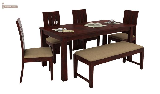 Terex 6 Seater Dining Set With Bench (Mahogany Finish)-1