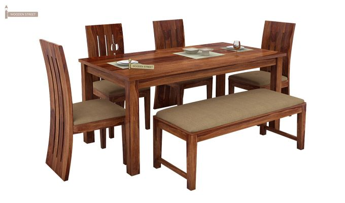 Terex 6 Seater Dining Set With Bench (Teak Finish)-2