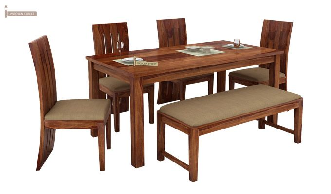 Terex 6 Seater Dining Set With Bench (Teak Finish)-1