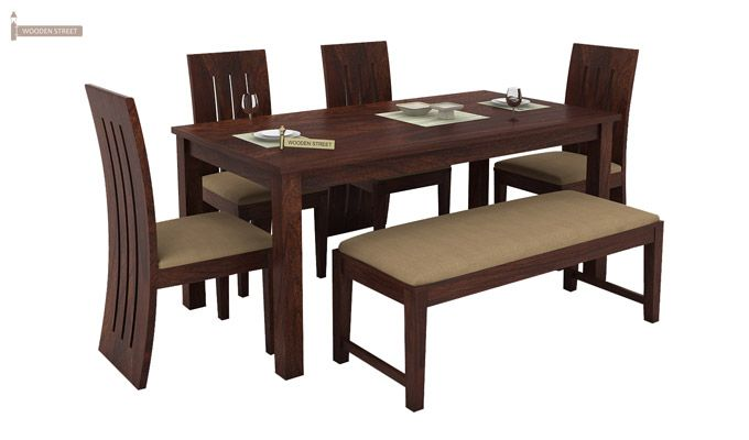 Terex 6 Seater Dining Set With Bench (Walnut Finish)-2
