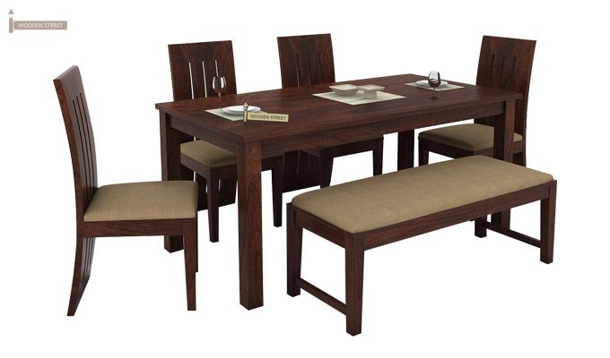 Terex 6 Seater Dining Set With Bench (Walnut Finish)-1