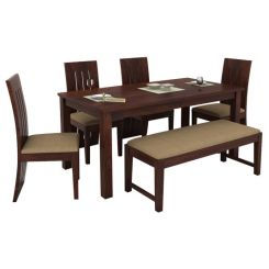 Terex 6 Seater Dining Set With Bench (Walnut Finish)