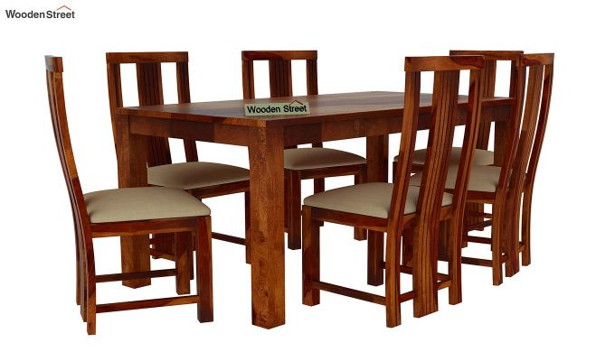 Volpel 6 Seater Dining Table Set (Honey Finish)-2