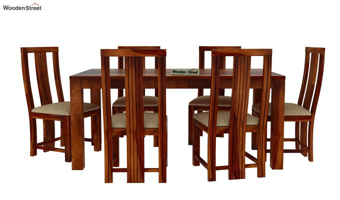 Volpel 6 Seater Dining Table Set (Honey Finish)-3