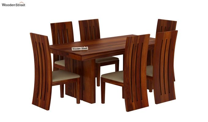 Wertex 6 Seater Dining Set (Honey Finish)-3