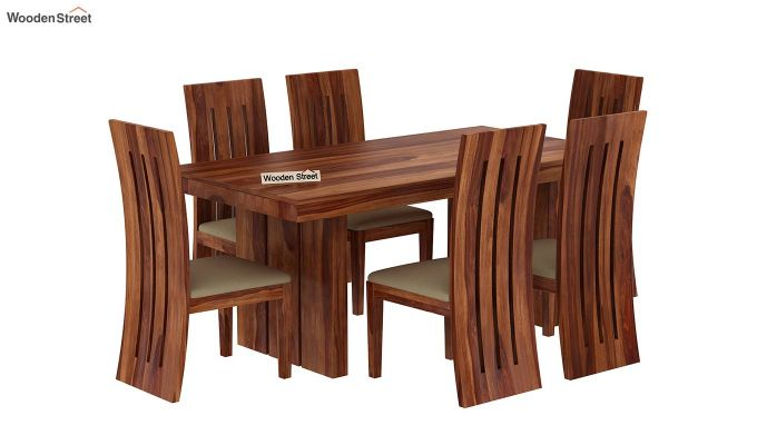 Wertex 6 Seater Dining Set (Teak Finish)-3