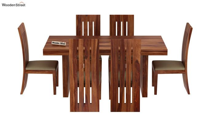 Wertex 6 Seater Dining Set (Teak Finish)-4