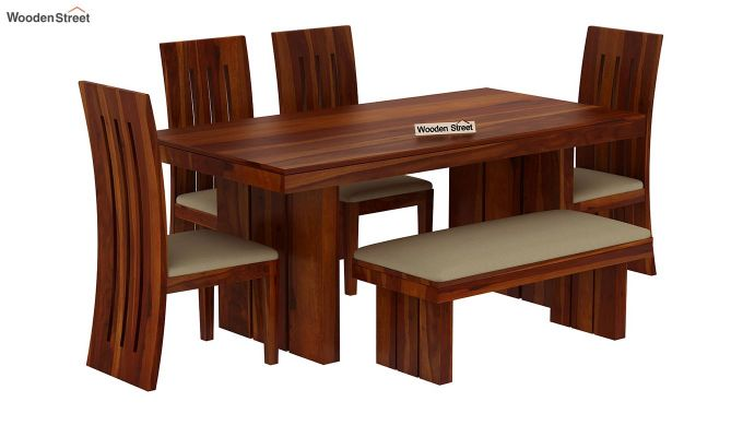 Wertex 6 Seater Dining Set with Bench (Honey Finish)-3
