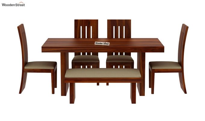 Wertex 6 Seater Dining Set with Bench (Honey Finish)-4