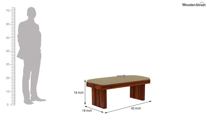 Wertex 6 Seater Dining Set with Bench (Honey Finish)-13