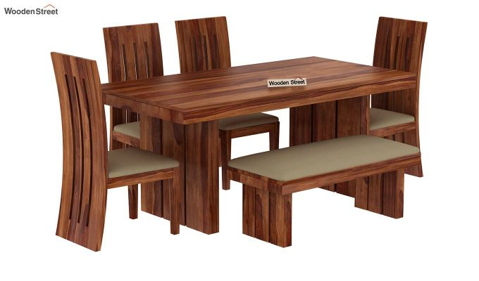 Wertex 6 Seater Dining Set with Bench (Teak Finish)-3