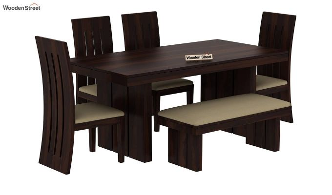 Wertex 6 Seater Dining Set with Bench (Walnut Finish)-3