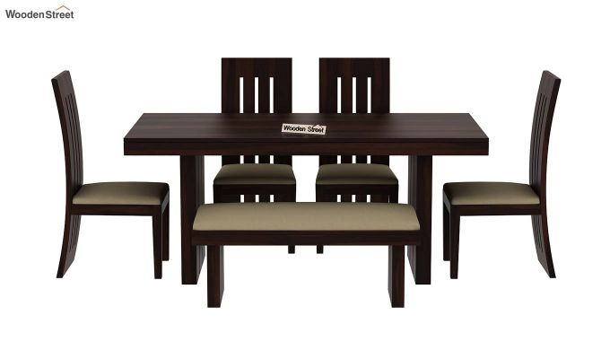 Wertex 6 Seater Dining Set with Bench (Walnut Finish)-4