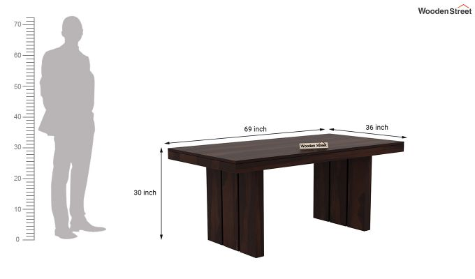 Wertex 6 Seater Dining Set with Bench (Walnut Finish)-11