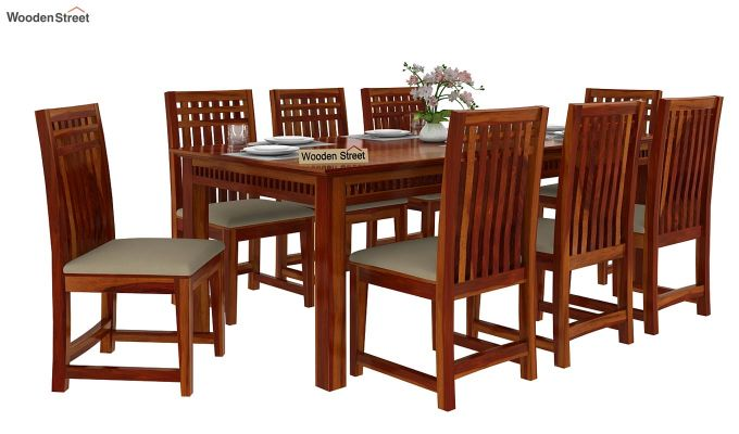 Adolph 8 Seater Dining Set (Honey Finish)-2