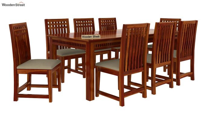 Adolph 8 Seater Dining Set (Honey Finish)-3