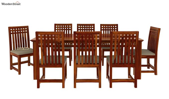 Adolph 8 Seater Dining Set (Honey Finish)-4