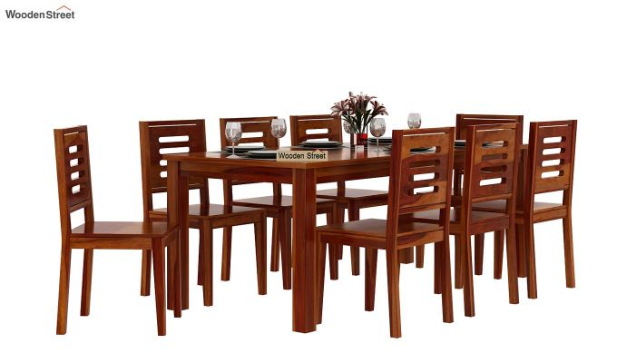 Janet 8 Seater Dining Set (Honey Finish)-2