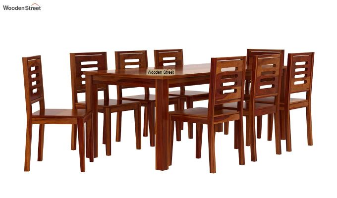 Janet 8 Seater Dining Set (Honey Finish)-3