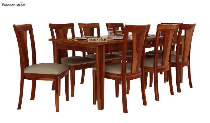 Mcbeth Storage 8 Seater Dining Set (Honey Finish)-2