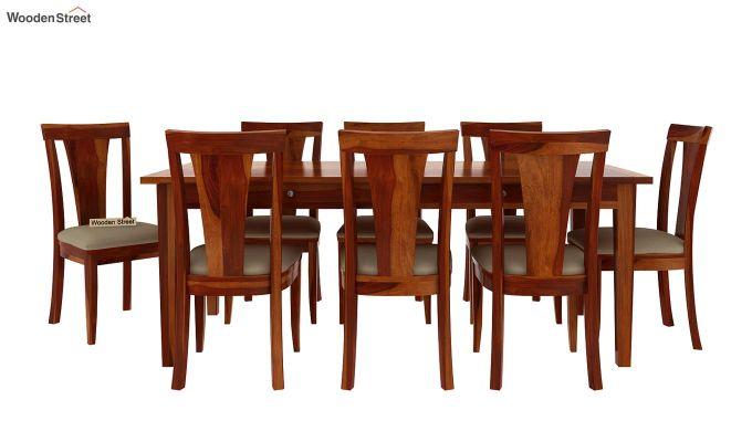 Mcbeth Storage 8 Seater Dining Set (Honey Finish)-4