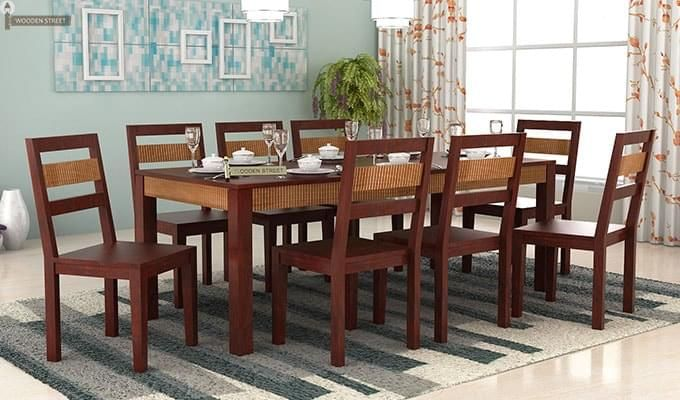 Toure 8 Seater Dining Set (Mahogany Finish)-1