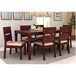 Kietel 6 Seater Dining Set (Mahogany Finish)