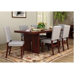 Nechim 6 Seater Dining Set (Mahogany Finish)