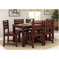 Steve Compact 6 Seater Dining Set (Mahogany Finish)
