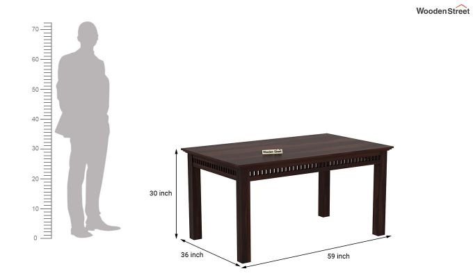 Adolph 6 Seater Dining Table (Walnut Finish)-4