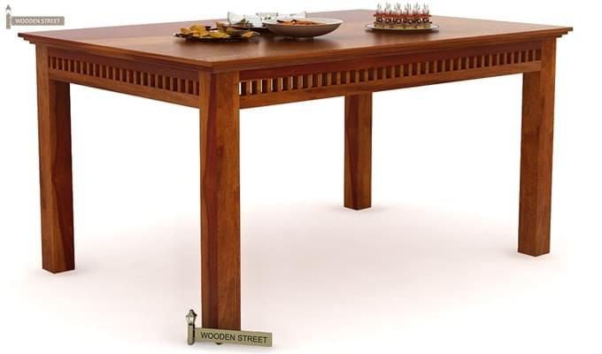 Adolph 6 Seater Dining Table (Honey Finish)-2