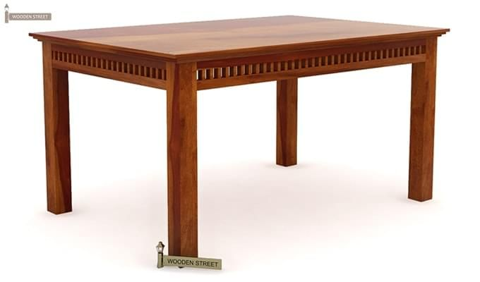 Adolph 6 Seater Dining Table (Honey Finish)-3