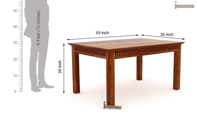 Adolph 6 Seater Dining Table (Honey Finish)-7