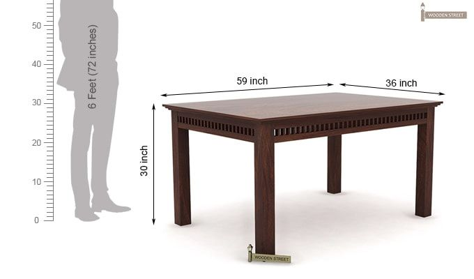 Adolph 6 Seater Dining Table (Walnut Finish)-6