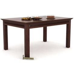 Adolph 6 Seater Dining Table (Walnut Finish)