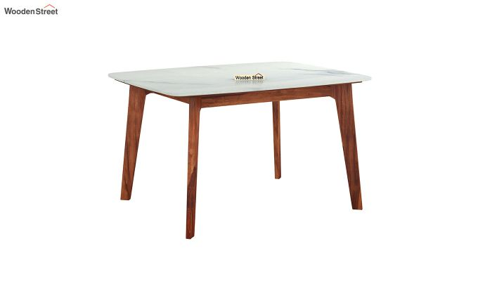 Amoha 4 Seater Marble Top Dining Table (Honey Finish)-2