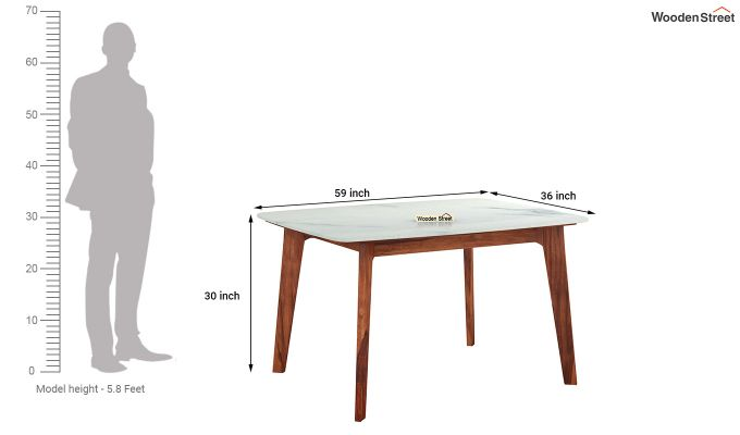 Amoha 4 Seater Marble Top Dining Table (Honey Finish)-4