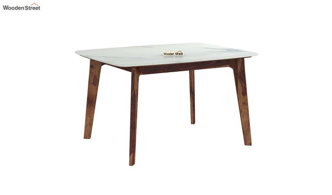 Amoha 4 Seater Marble Top Dining Table (Teak Finish)-2