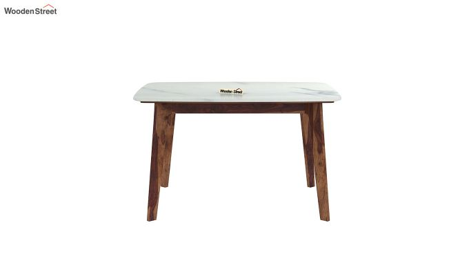 Amoha 4 Seater Marble Top Dining Table (Teak Finish)-3