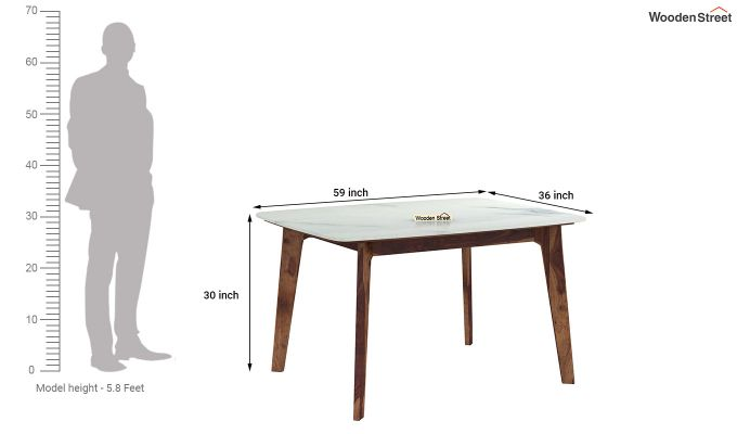 Amoha 4 Seater Marble Top Dining Table (Teak Finish)-4