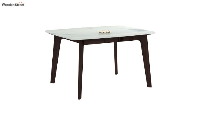 Amoha 4 Seater Marble Top Dining Table (Walnut Finish)-2