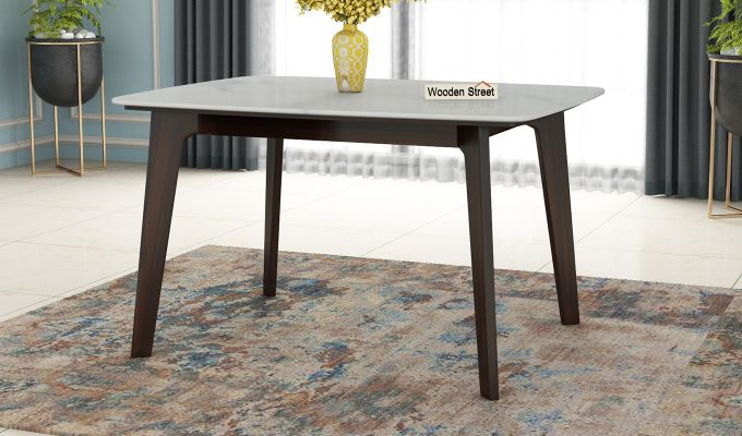 Amoha 4 Seater Marble Top Dining Table (Walnut Finish)-1