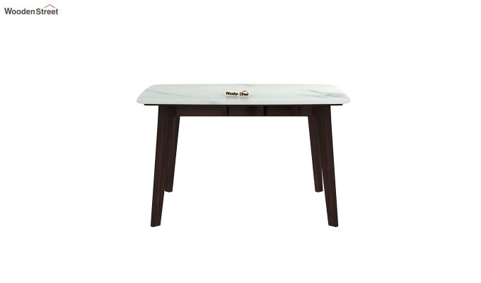 Amoha 4 Seater Marble Top Dining Table (Walnut Finish)-3