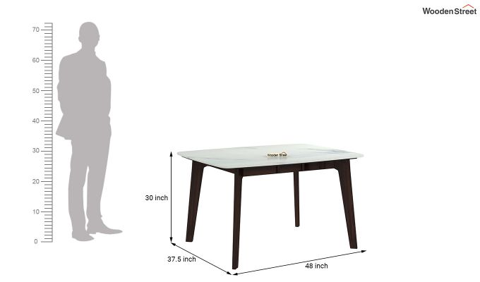 Amoha 4 Seater Marble Top Dining Table (Walnut Finish)-4
